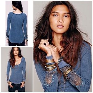 Free People Synergy Cuff Thermal Lace Sleeves Top